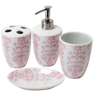 bathroom accessories in pink