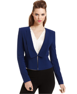 bcbg blue penn structured peplum jacket