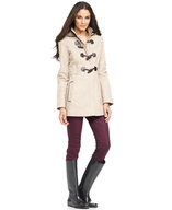 biege esprit trim toggle coat