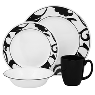 black white dishes set