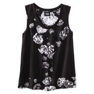 black white flowered shirt