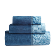 closeout blue flower towels