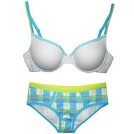 bras and pantie white blue