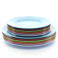 surplus colorful dinner plates