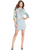denim fether print dress