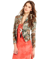 free people camouflage fitted jacket