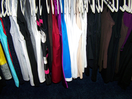 hanger of dresses shirts