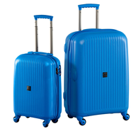hardside blue suitcase