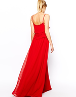 mango red strappy maxi dress