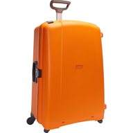 orange hard cover luggage