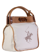 polo club white brown handbag