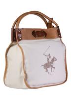 polo club white brown handbag