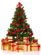 wholesale discount red decorated tree gold presents