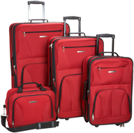 red multi luggage in bulk
