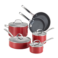 red pots pans set