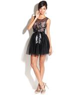 sheer black pink bow dress