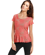 style&co top cap sleeve lace peplum top