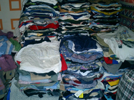 used clothing folded