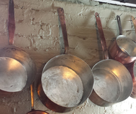 used silver cooper pans
