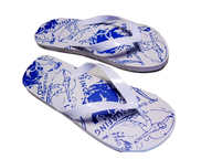 white blue used flipflops